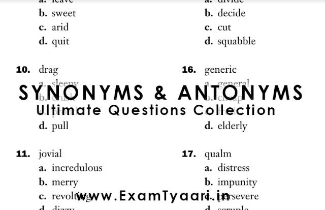 Synonyms and Antonyms PDF - SSC CGL CHSL - Exam Tyaari