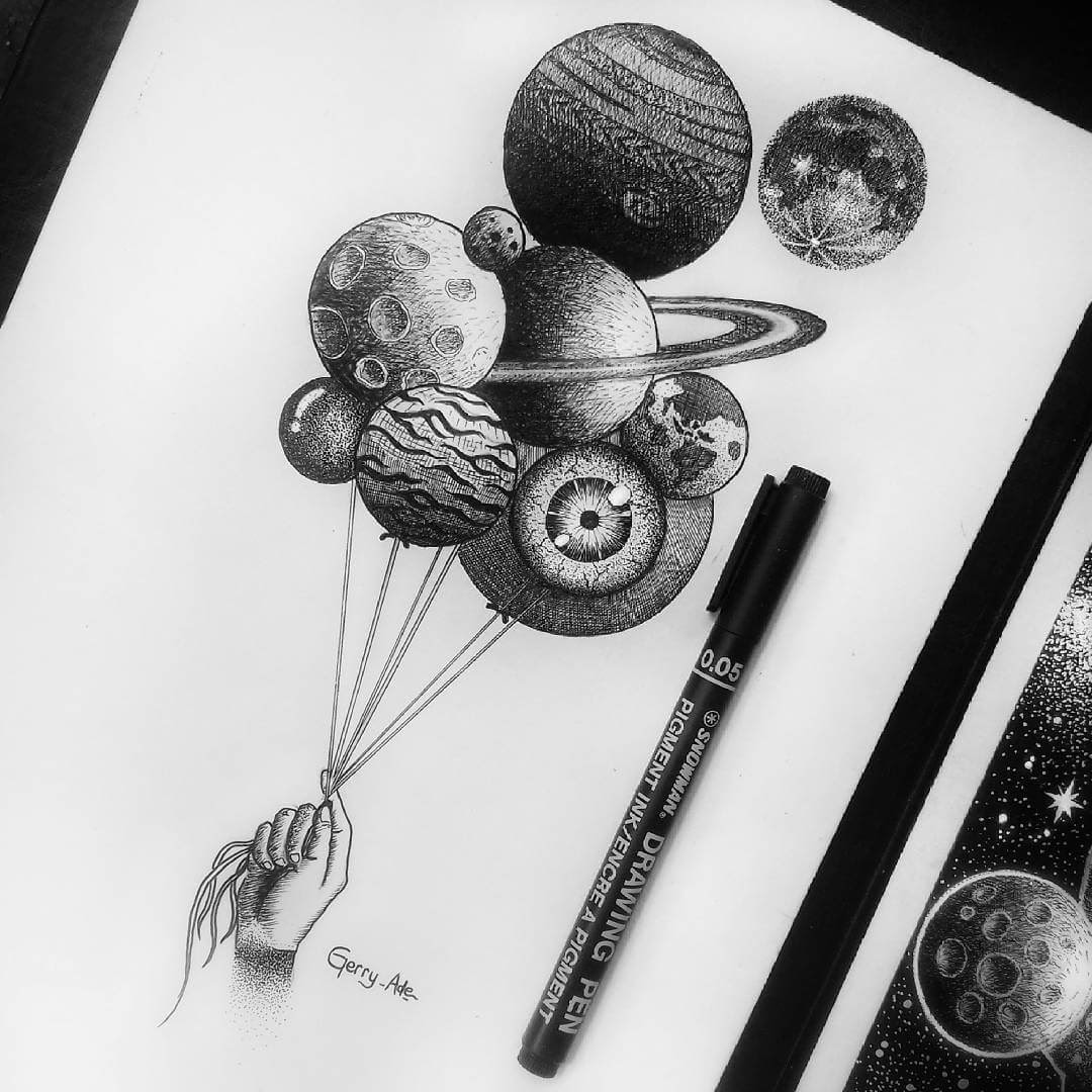 01-Balloon-Planets-and-an-Eyeball-G-A-Yuangga-Fineliner-Stippling-Drawings-www-designstack-co