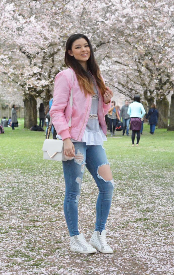 Fashion Nova, Glistening Jeans, Medium Wash, Boohoo Pink Bomber Jacket, Pink Bomber Jacket, Bomber Jacket, Gracie MA1 Bomber, Chicnova Shirt, Primark Bag