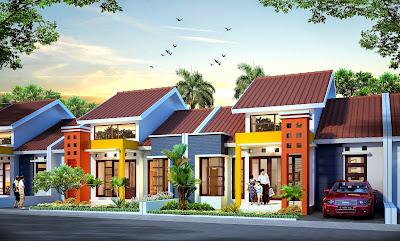 Render 3D Rumah Satu Lantai