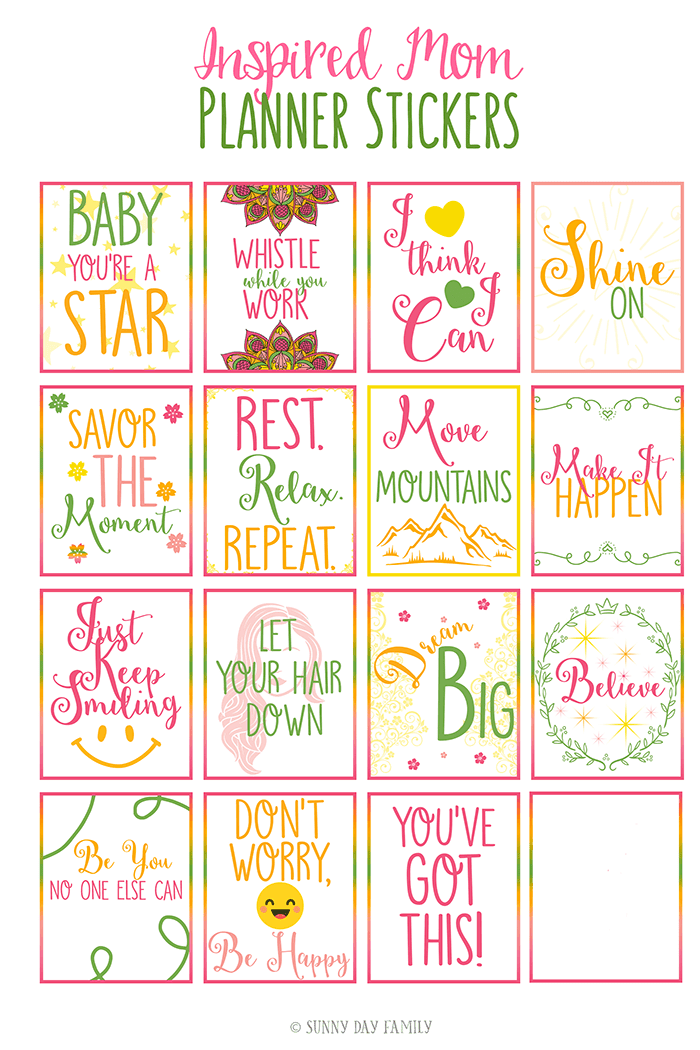 Calendar Planning Quotes : Free printable inspirational quote planner stickers for