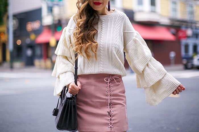 chicwish Ivory Cable Knit Sweater with Tiered Flare Sleeves, tiered ruffle top, lace up skirt, oak boots, baublebar earrings, saint laurent baby sac de jour, san francisco street style, holiday outfit ideas, san francisco fashion blog