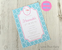 Preppy Pink Flamingo Birthday Invitation