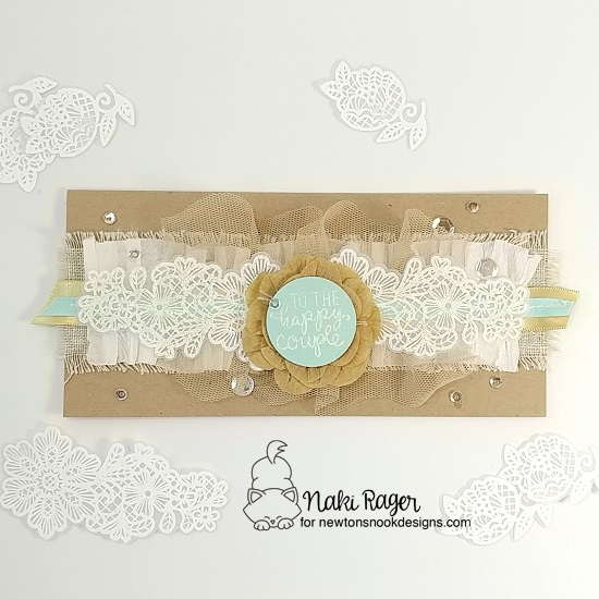 Lace Floral Wedding Card by Naki Rager | Wedding Frills Stamp Set by Newton's Nook Designs #newtonsnook #handmade