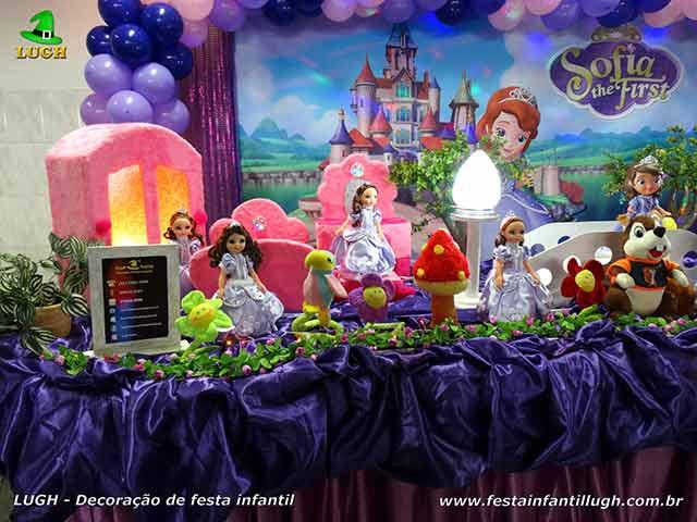 Decoração de aniversário infantil tema Princesa Sofia