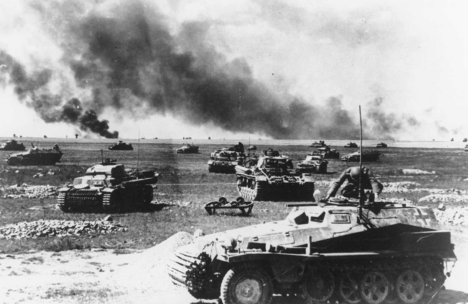 An Sd.Kfz-250 half-track in front of German tank units, as they prepare for an attack, on July 21, 1941, somewhere along the Russian warfront, during the German invasion of the Soviet Union.