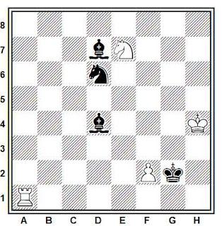 Estudio artístico de ajedrez compuesto por J. Rusinek (4º Premio, 4º WCCT 1989-1992)