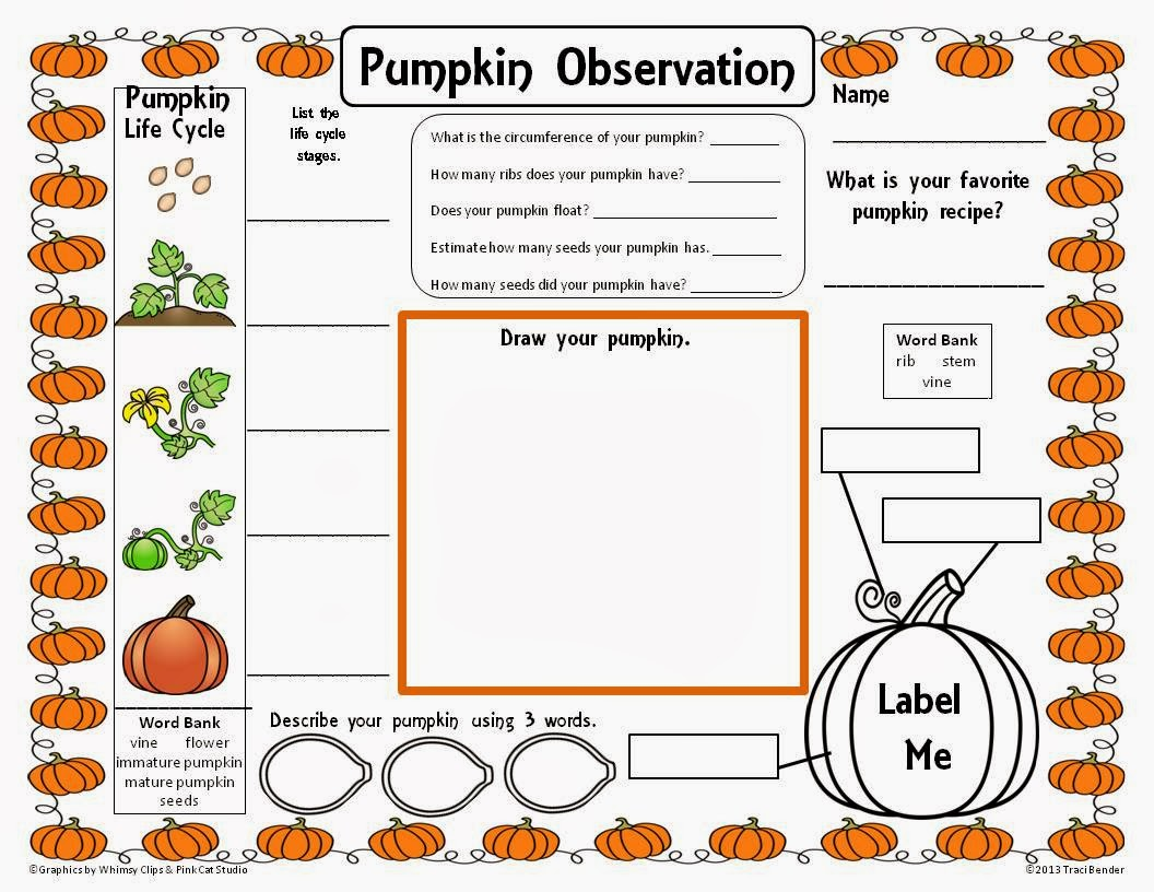 The Bender Bunch Pumpkin Observation Freebie