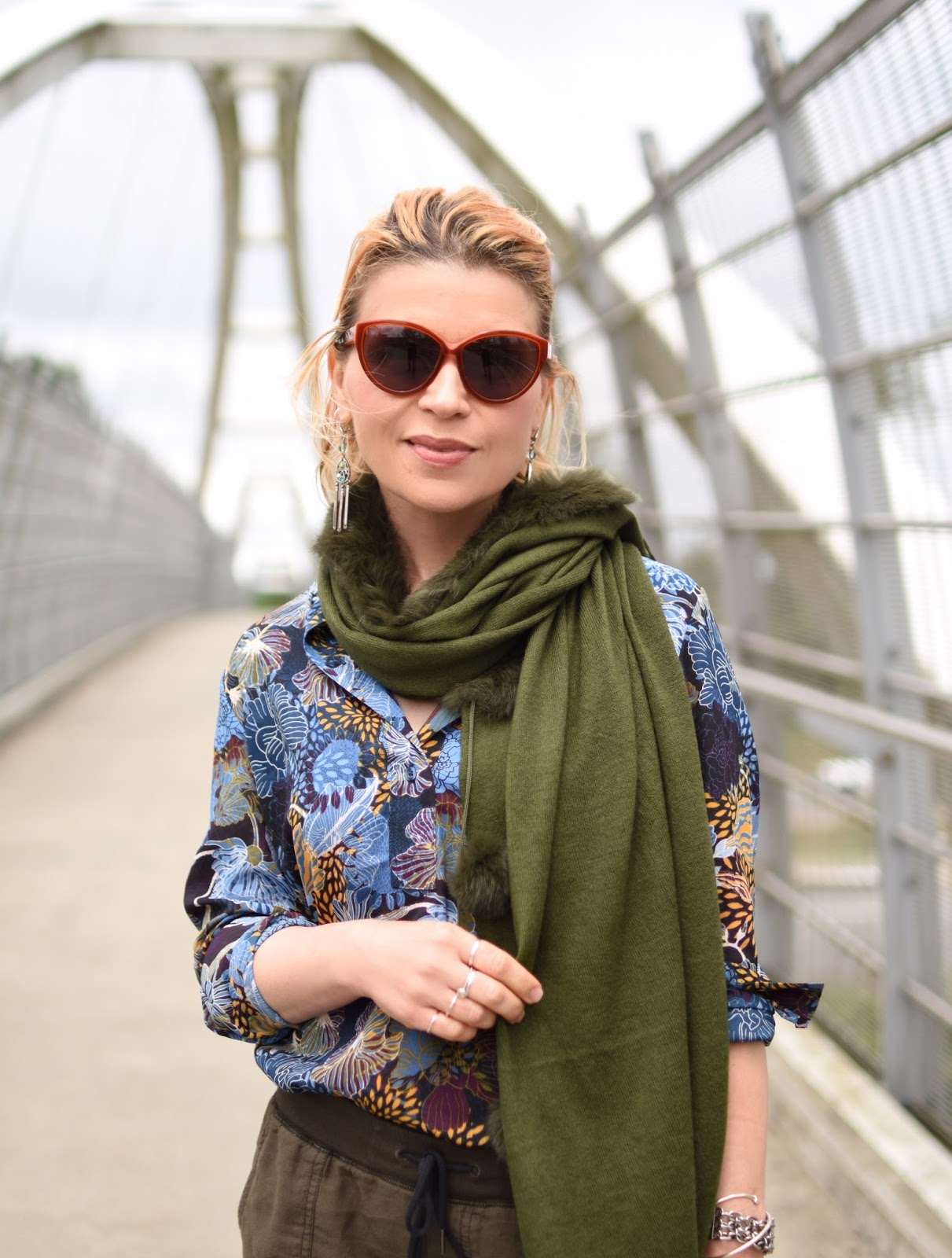 slouchy cargo pants, floral blouse, pompom scarf, House of Harlow 1960 sunglasses