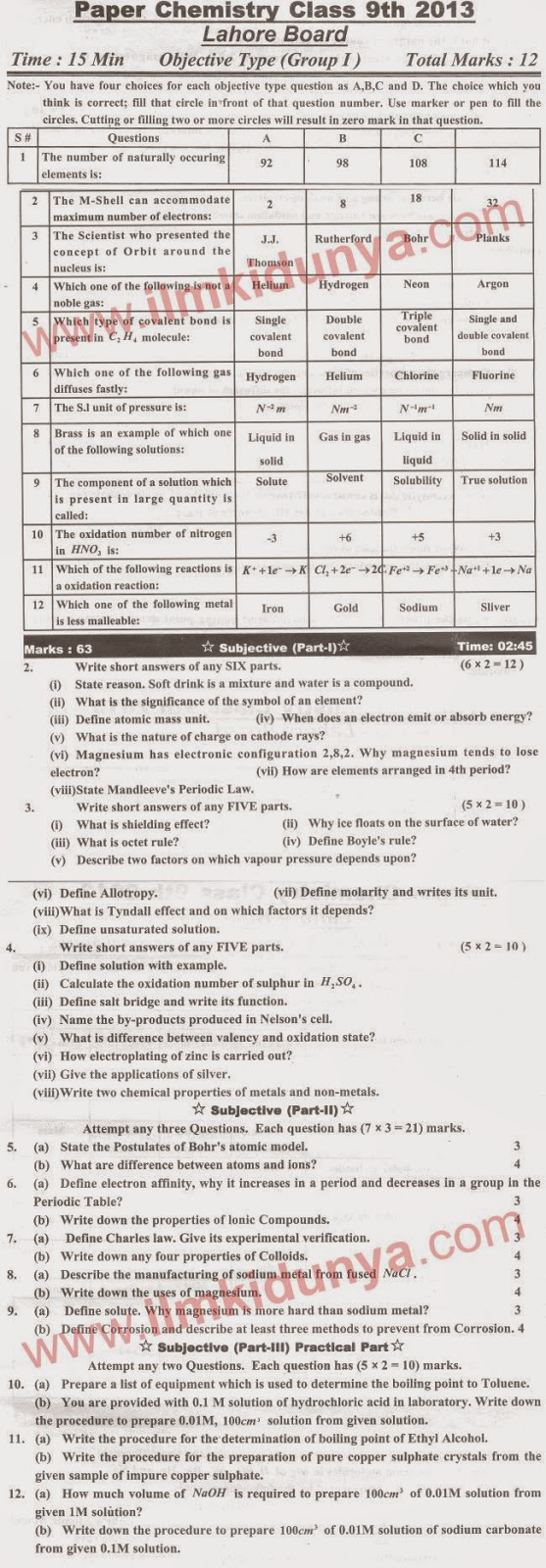 biology guess paper 10th class 2013 lahore board