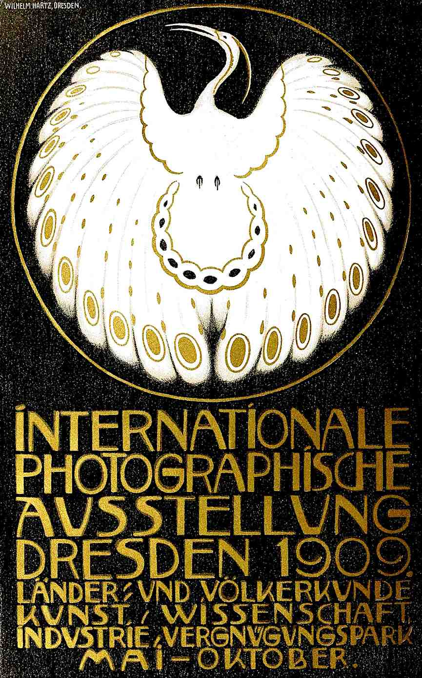 the 1909 Dresden photography exposition poster with metallic gold ink