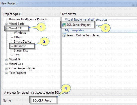 Creating SQLCLR Project in VC#