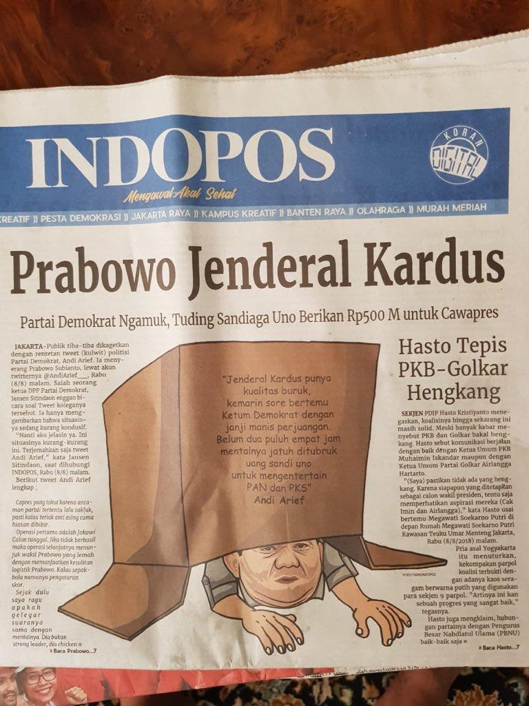 Inilah Politik Indonesia Jenderal Kardus Berujung Duet Prabowo Sandi Jendral Munculnya Belum Direspons Positif Oleh Barisan Pendukung Anti Jokowi Gerakan Mengganti Presiden Tak Puas Dengan Figur