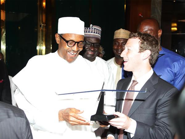 President Buhari and Mark Zuckerberg at the presidential villa, Aso Rock.