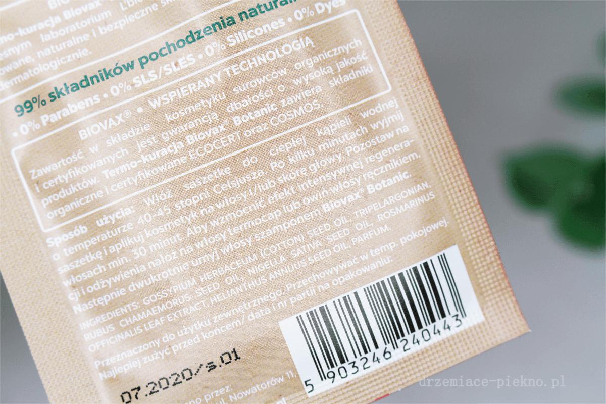 Zabieg olejowania włosów Biotanic Biovax L'biotica, Termo-kuracja Malina moroszka, czarnuszka i bawełna