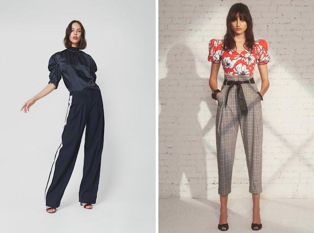 Блузки с пышными рукавами с брюками с лампасом и костюмными брюками