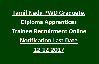 Tamil Nadu PWD Graduate Diploma Apprentices Trainee Recruitment Online Notification Last Date 12-12-2017