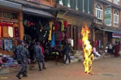 Monk stages burning protest, Dharmshala, Monk protest, Monk, Tibetan monk self-immolated