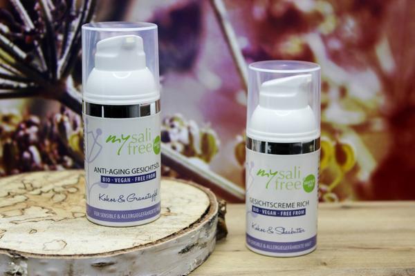 Gesichtscreme und Gesichtsöl mit Kokos