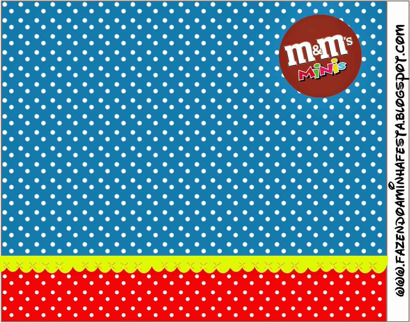 Etiqueta M&M de Rojo, Amarillo y Azul para imprimir gratis.