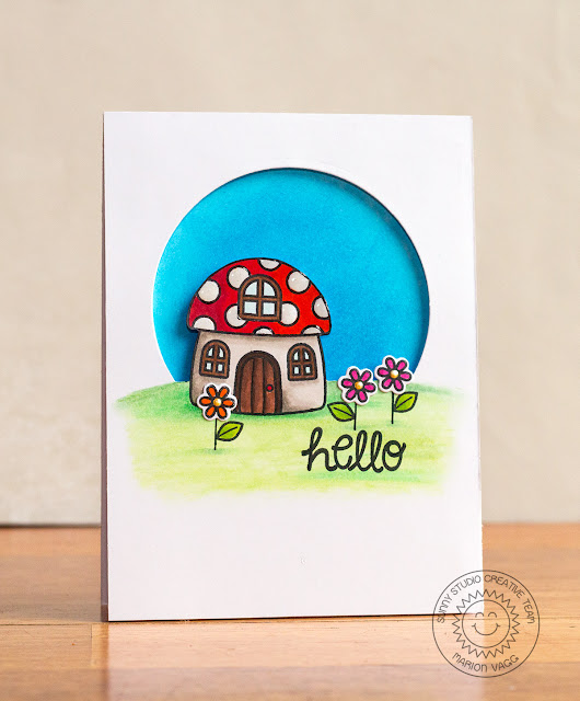 Sunny Sentiments Stamps Backyard Bugs Toadstool House Window card by Marion Vagg.