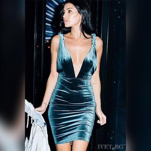 Μοντέρνο κοντό πετρόλ φόρεμα MARIA