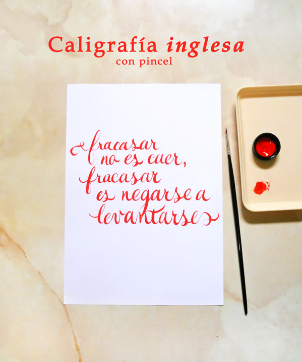 Caligrafía inglesa copperplate con pincel