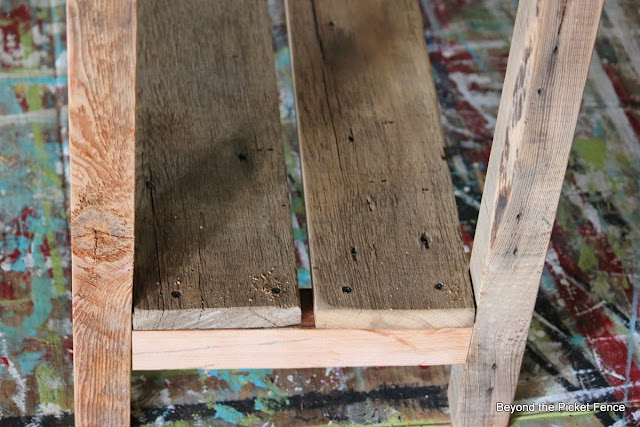 add a bottom shelf to a reclaimed wood sofa table