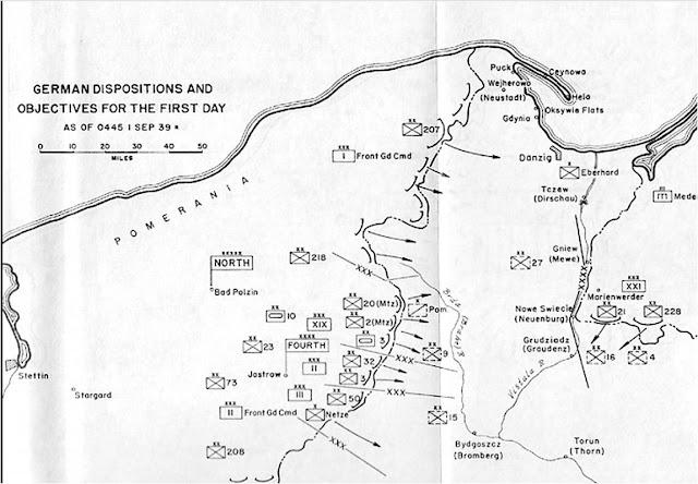 Διάταξη των δυνάμεων και κατευθύνσεις επιθέσεως των Γερμανών