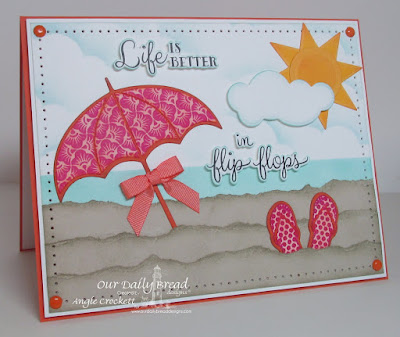ODBD Life is Better, ODBD Flip Flop Fun, ODBD Chalkboard Fan Background, ODBD Custom Flip Flop Dies, ODBD Custom Umbrella Dies, ODBD Custom Pennant Row Dies, ODBD Custom Clouds and Raindrops Dies, Card Designer Angie Crockett