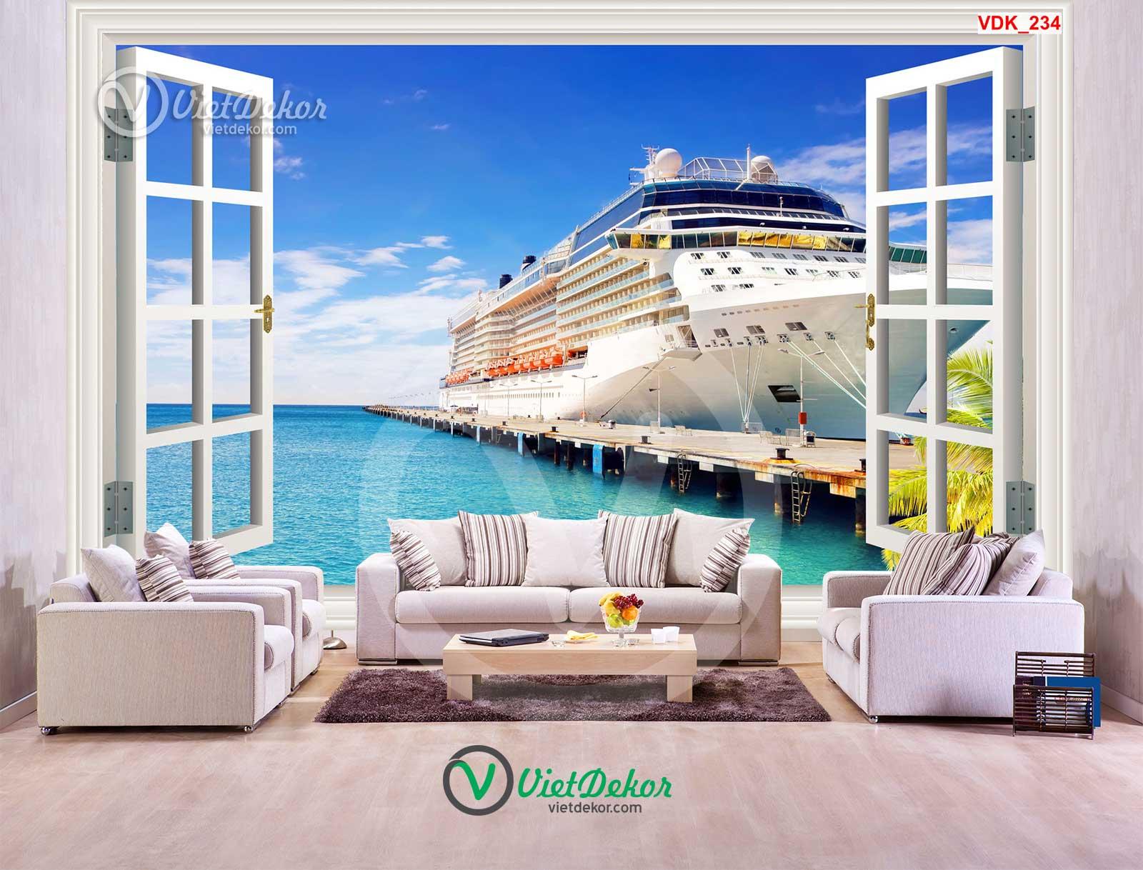 Tranh dán tường 3d cửa sổ biển và con tầu