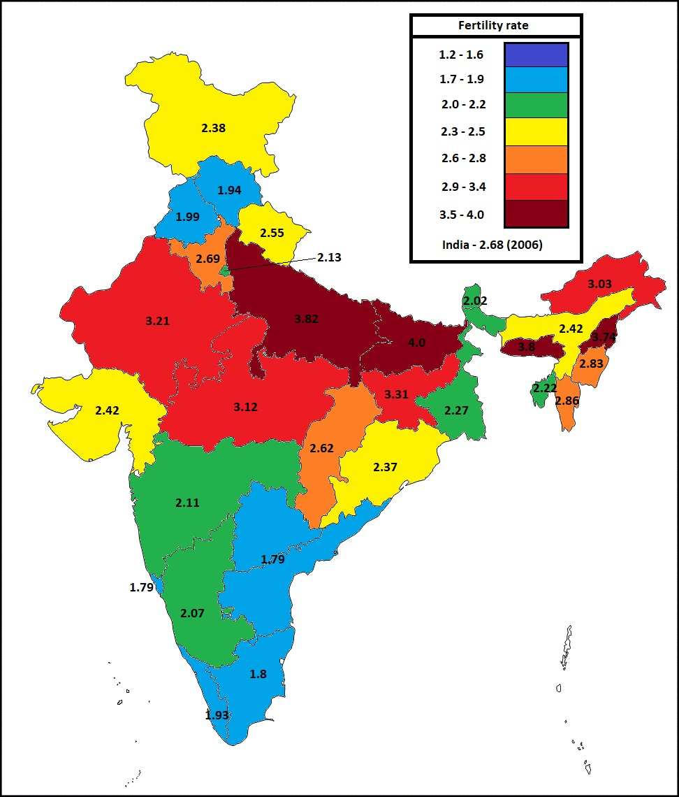 fertility rate in indian states in 2006 fig 2
