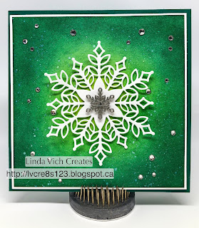 Linda Vich Creates: Snowflake Birthday. Stunning ink sponging serves as the backdrop to the intricate snowflake cut with the Snowfall Thinlits on this wintry birthday card.