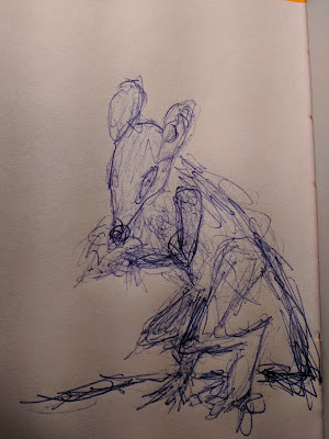 very rough pen sketch of a humanoid rat