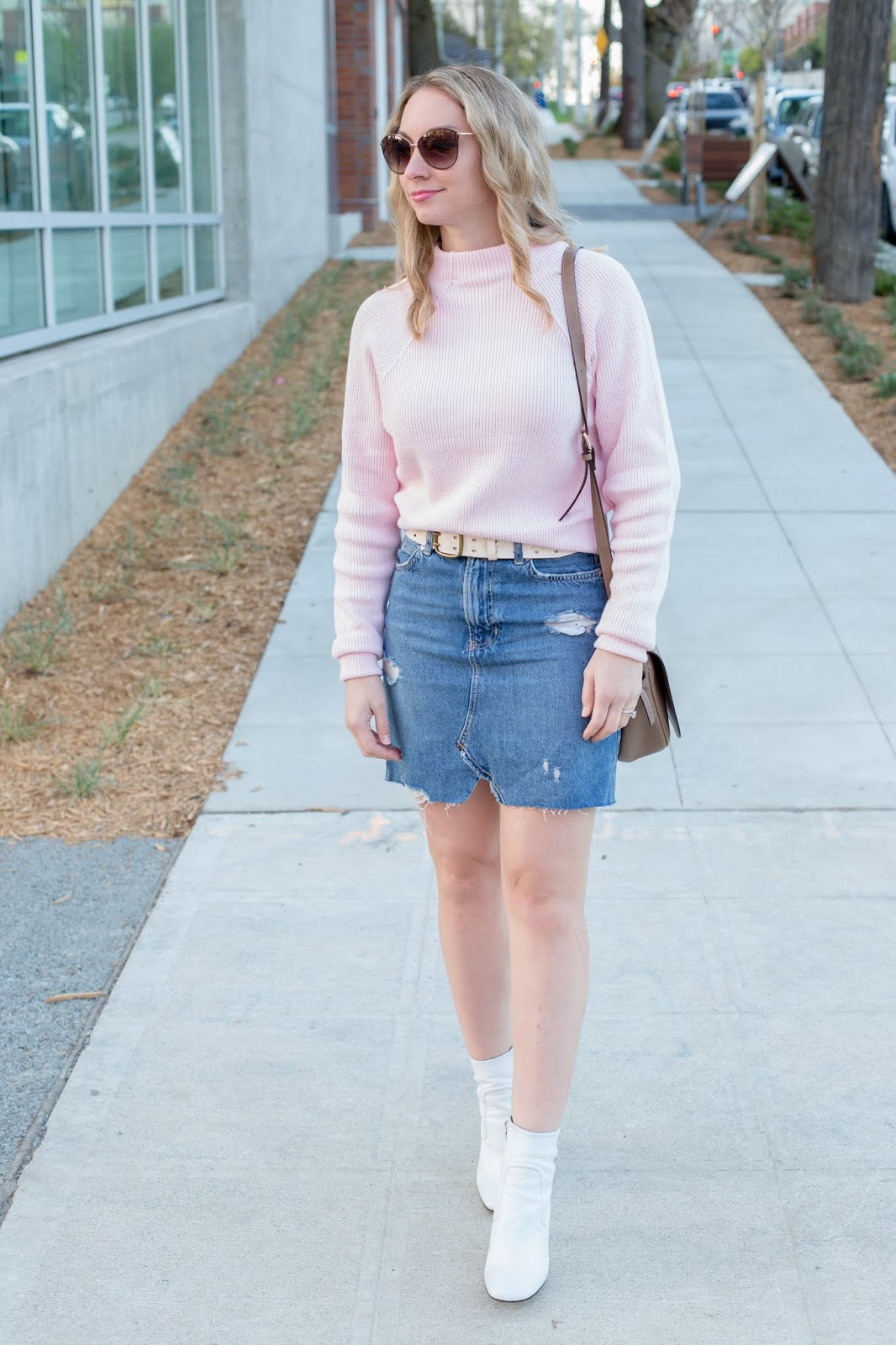 9151abe4d8c80 Please read on for more photos, outfit links, and more of my picks for  on-trend denim skirts and white booties that I think would create perfect  spring ...