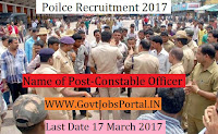 Police Recruitment 2017– 273 Constable Officer