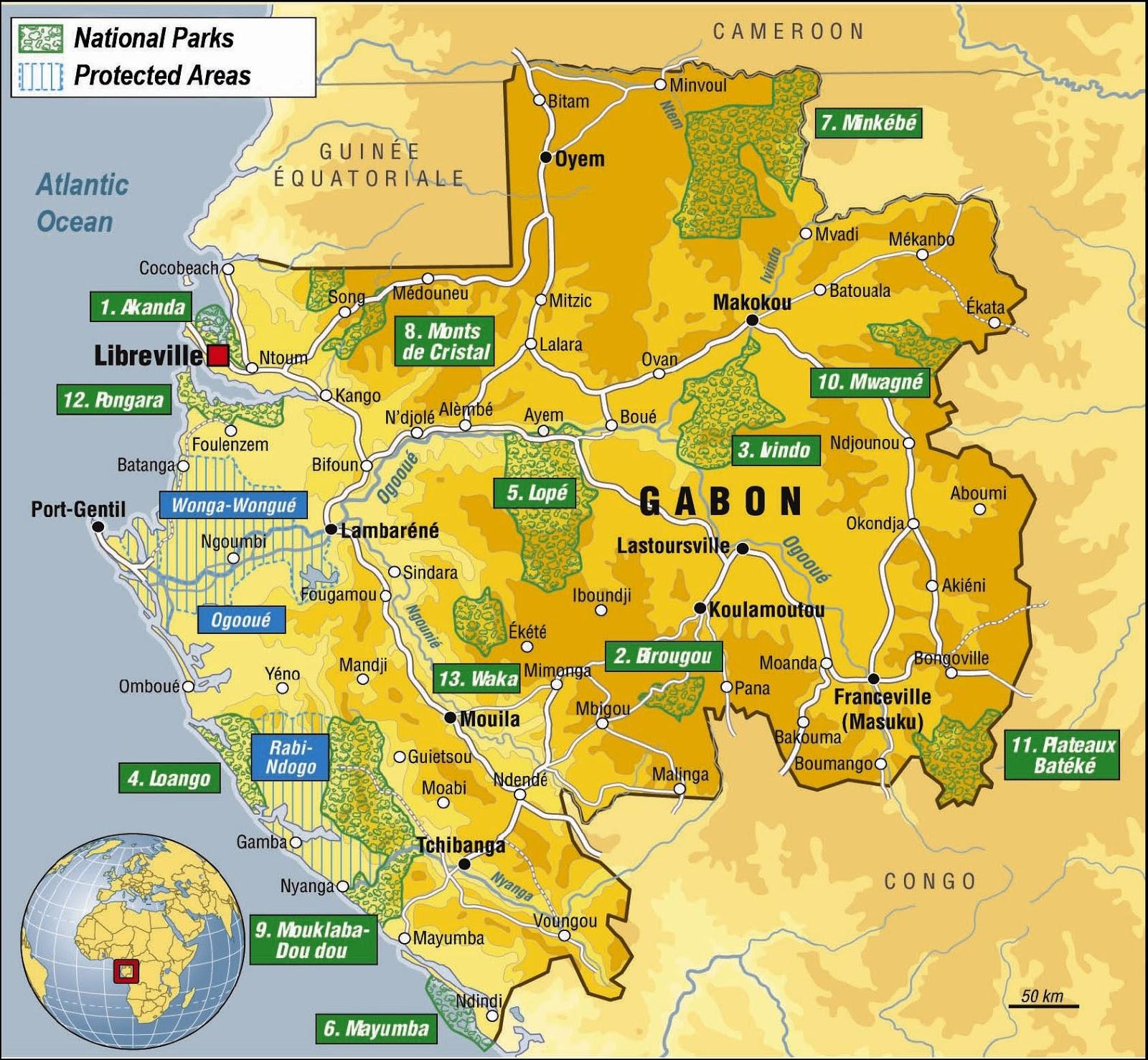 Gabão | Mapas Geográficos do Gabão
