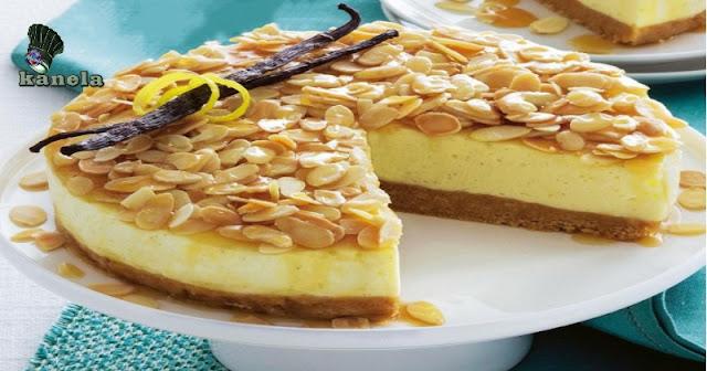 Pastel de queso de vainilla y Almendras