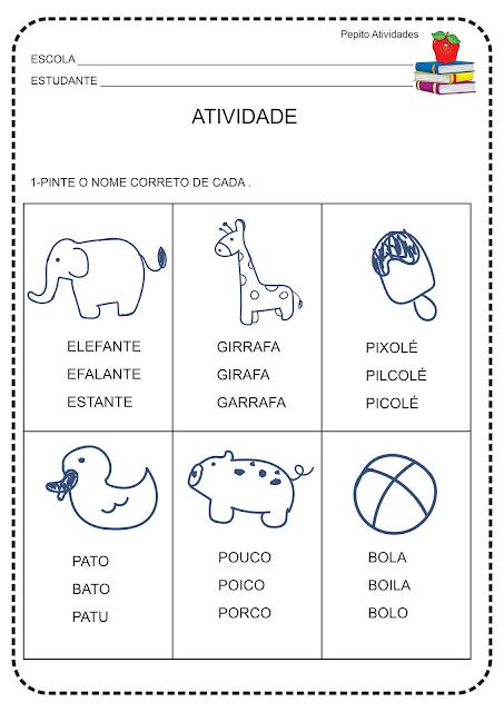 Atividade Alfabetização Reconhecimento Visual de Palavras