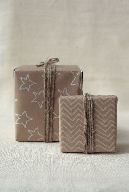 eco-friendly kraft paper wrapping with stamps or drawings