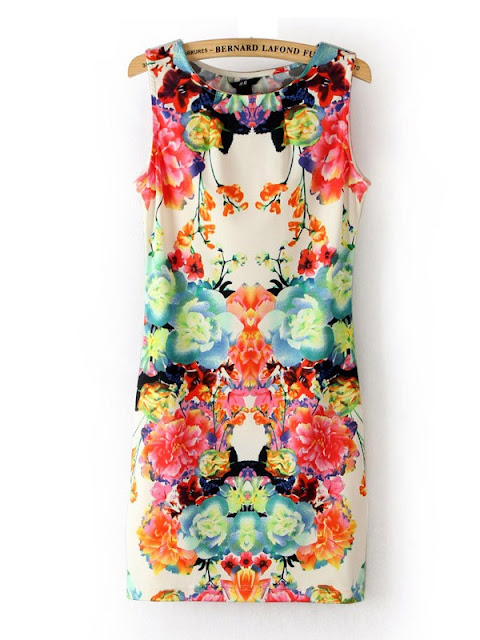 Summer Sleeveless Cyclic Symmetry Printed Mixed Colors Vest Bodycon Dress