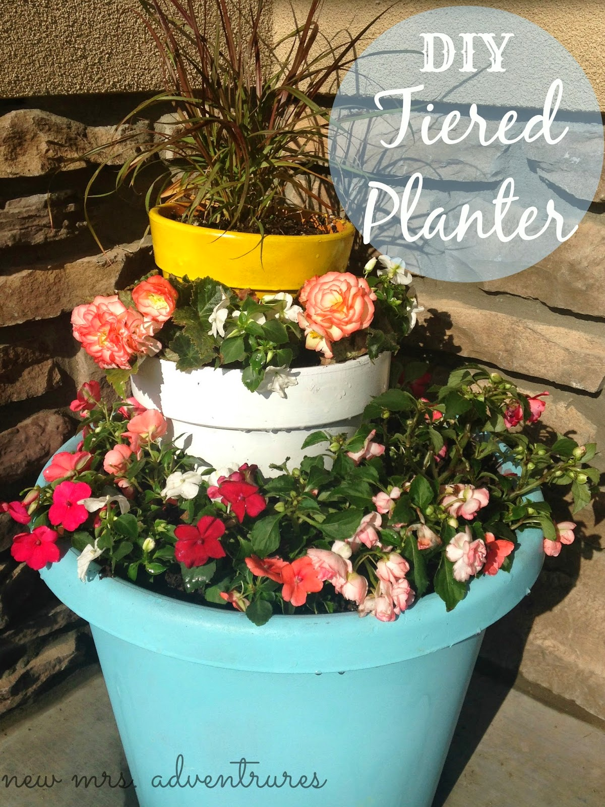 DIY+Tiered+Planter 16 Spring Home Decor Projects 46