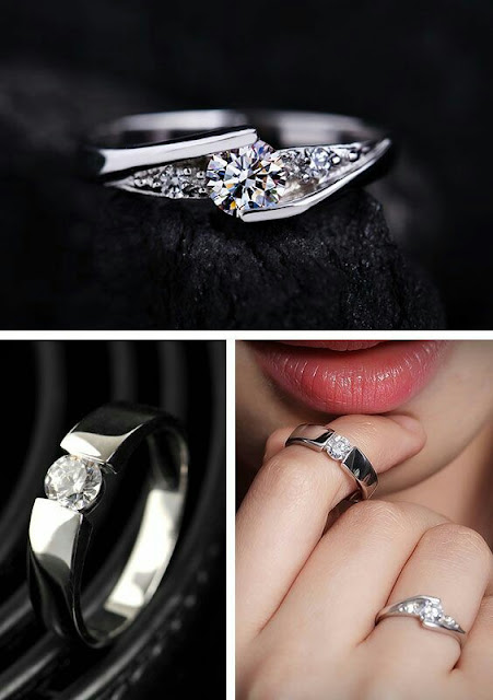 14K Palladium nancy style set with round cut diamond ladies ring