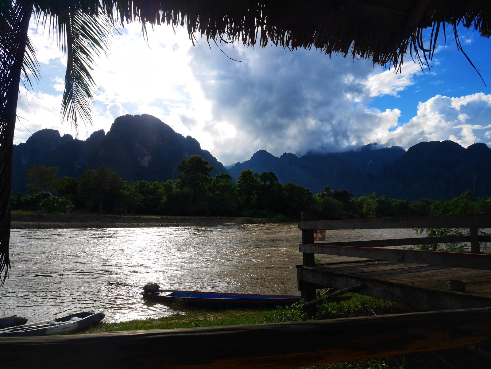 along the banks of the nam song river in vang vieng, laos