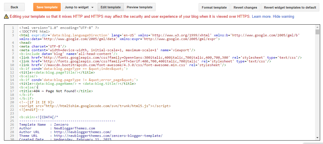 HTML Code of Blogger Template