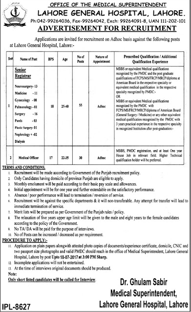 Doctors Jobs in Punjab Lahore General Hospital Jobs 2017