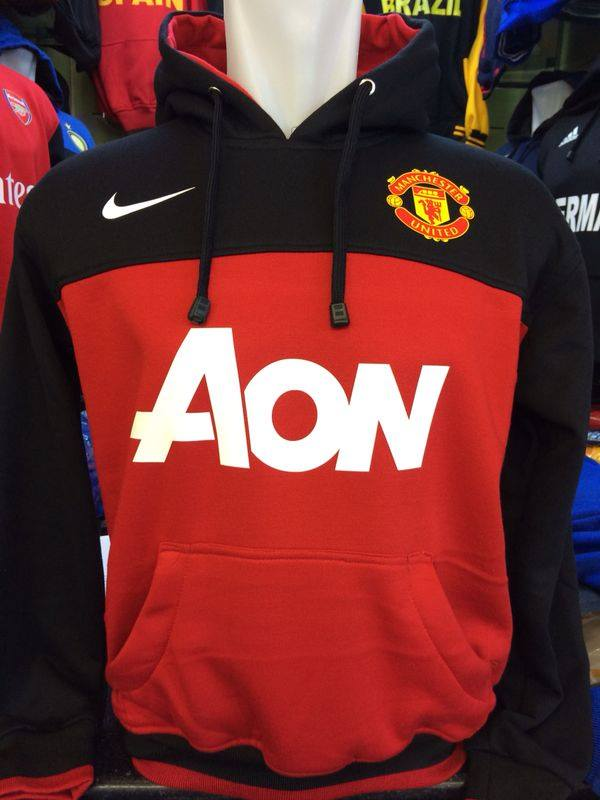 Jaket Hoodie Manchester United Hitam Merah AON