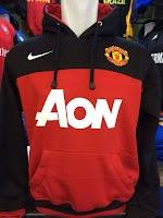 Jual Jaket Hoodie Manchester United Hitam Merah AON