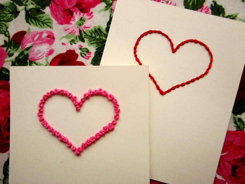 Llueve Diamantina: Tarjetas bordadas para San Valentín.