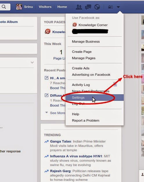 Knowledge corner how to recover deleted facebook messages pictures login into your facebook account and go to setting after it navigate to general account settings ccuart Choice Image